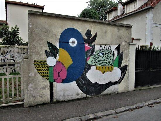 """Fresque """"Chien et oiseau"""""""