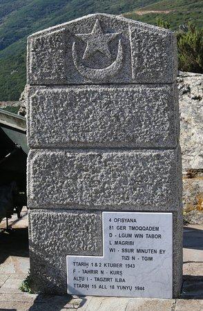 Ersa, Frankrike: Ils s'appelaient Addou, Ahmed, Ali, Aqqa, Bassou, Hamou, Jean Lhaboub, Lhassen, Mohamed, Nasseur, Moulay, Said, ils ont fait le scrifice de leur vie pour offrir à la Corse la liberté.  Durant trois jours de combat acharné souvent au corps à corps 49 hommes sont tués, 130 blessés.