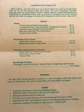 Leslie, AR: Serenity Farm Bread Shipping List and Information