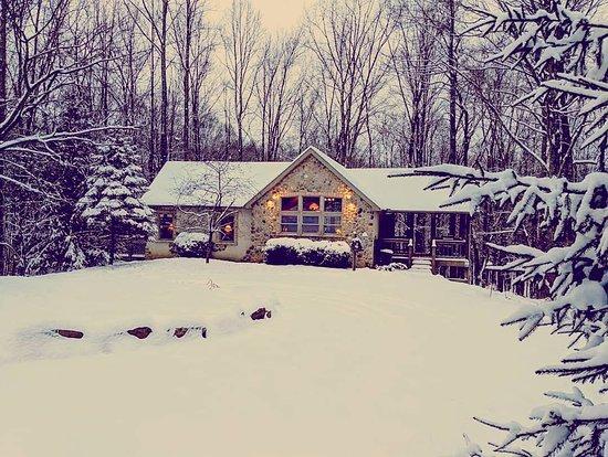 Cherry Ridge Retreat - Hocking Hills Luxury Cabins: Winter at Cherry Ridge Retreat, Ravine's Edge exterior