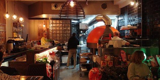 Bar and Orange Pizza Oven