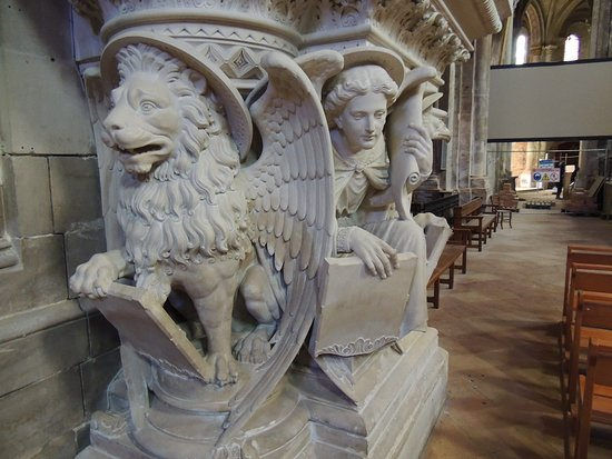 Pulpit with Mark/Lion and Matthew/Angel figures.