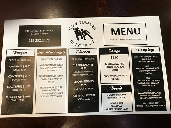 Back Side Of The Menu Picture Of Cow Tippers Douglas Tripadvisor