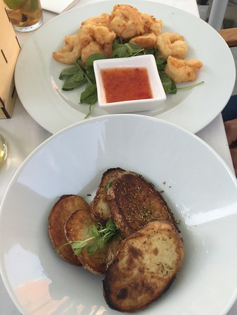 prawns and the sweet chilli sauce - some garlic bread too.