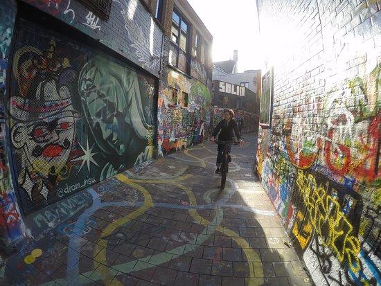 "Guided Biking Tour in Ghent: Checking out ""hidden"" graffiti art in Ghent."