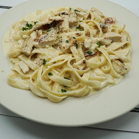 Linguini Alfredo with Chicken!  At our Coach House Diner and Restaurant, open 24/7, over 100 parking spots available and great Bar, New York Style. You will enjoy our familiar and cozy style.