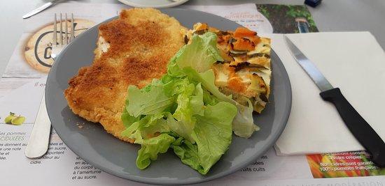 L'oustaou: Escalope de poulet, flan aux légumes
