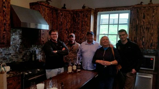 The crew including Father and  Son, the Master Distiller