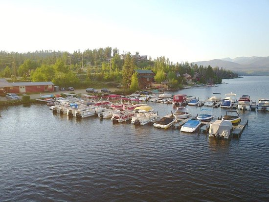 Grand Lake, CO: Aerial View of Docks