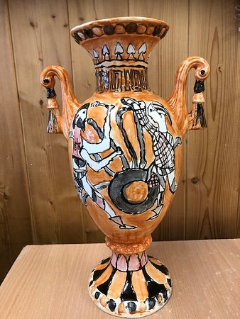 Witney, UK: Greek vase painting by a nine-year-old.