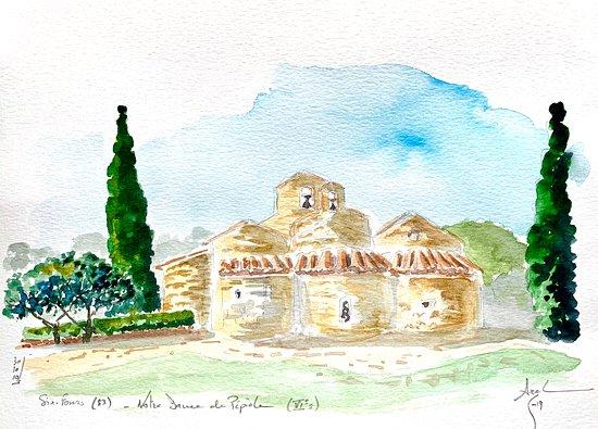 Chapelle Notre Dame de Pépiole, aquarelle par Axel Pivet réalisée sur site. Droits réservés.