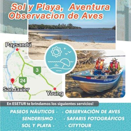 San Javier, Uruguay: En Esetur tenemos una aplia oferta de servicios para tu buen disfrute durante todo el año. Te invitamos a conocer nuestra fan page Www.facebook.com/eseturecoturismo y descubrir todos nuestros servicios. Por reservas anticipadas contactar al watssapp +59898953974. Esetur.. Te lo hace posible!