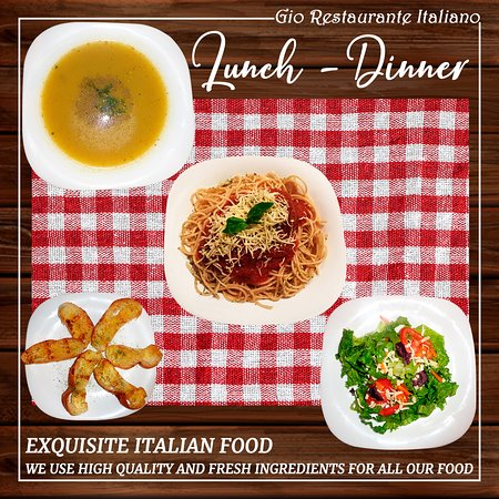 Exquisite italian food. Lunch and dinner.