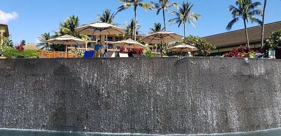 Waterfall view from below infinity pool
