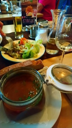 "Rattenberg, Austria: Nice lunch comprising of gulash soup, bread and ""ein viertal weisses wein, bitte"". Lovey... works every time!"
