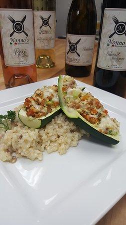 Nonno's Ristorante Italiano: Stuffed zucchini over risotto  Mynonnos.com.  or 619 337 9559 call
