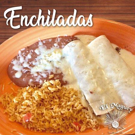 Enchiladas, rice and beans