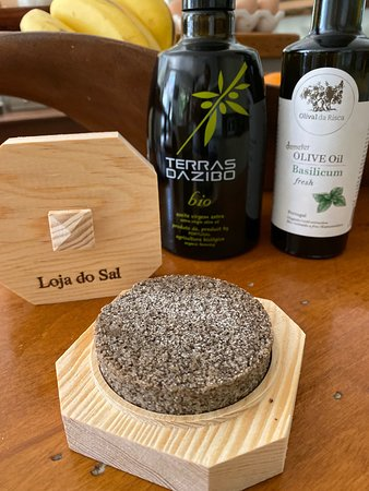 Olistori: Salt and pepper scrape, with olive oils in the background. The basil olive oil is a must purchase.