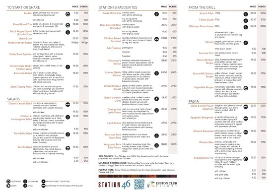 Euston, Австралия: Station46 Bistro Menu - Lunch 12pm to 2pm and Dinner 6pm to 8.30pm