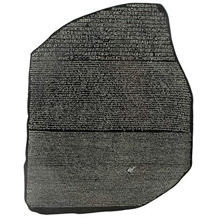 The Rosetta stone is an Egyptian engraved stone bearing a tri-lingual decree dated 197 BC inscribed in Hieroglyphic, Demotic and Greek text.   https://www.excursions.com.eg/EgyptBlog/Details/64?title=Rosetta%20Stone