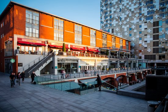 AC Hotel situated in the heart of the Mailbox complex alongside canal walks.