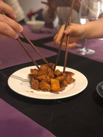 Caramelized sweet potatoes were served with black sesame ice cream - divine!