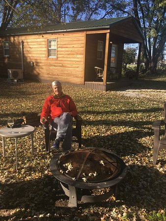 Windsor, MO: sitting out by a fire near one of Kim's Cabins
