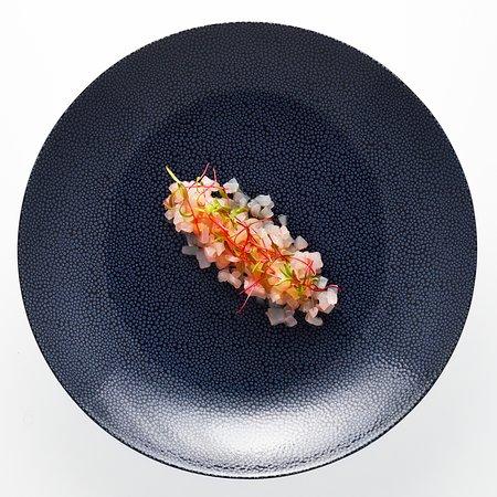 Our sea bass tartare dish.  Ταρτάρ λαυράκι!
