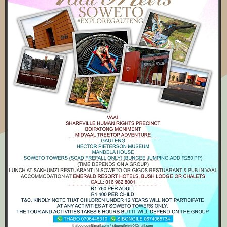Sebokeng, Южная Африка: VAAL MEETS SOWETO. A 6 hours tour.   Explore Gautengs rich political townships of VAAL & SOWETO while enjoying historical tours with a touch of adventure tours in treetop zipline at MIDVAAL TREETOP ACTIVITY and sqad free fall at SOWETO TOWERS.