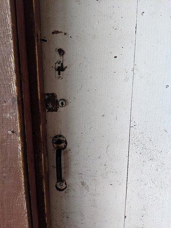 Oakland, ME: Front door to cabin