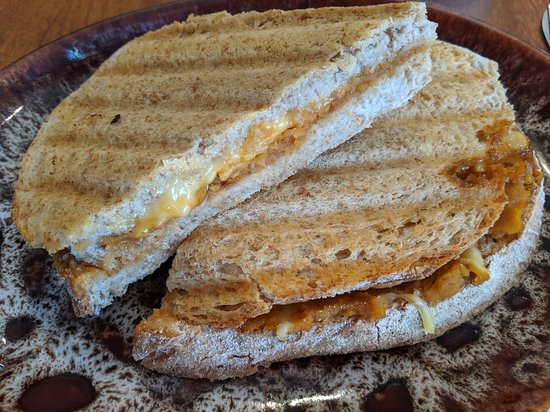 Plantarium Cafe: spicy pumpkin-vegan cheese toastie
