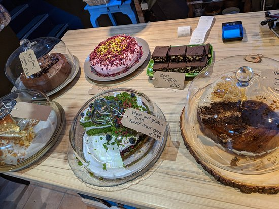 Plantarium Cafe: array of cakes and squares