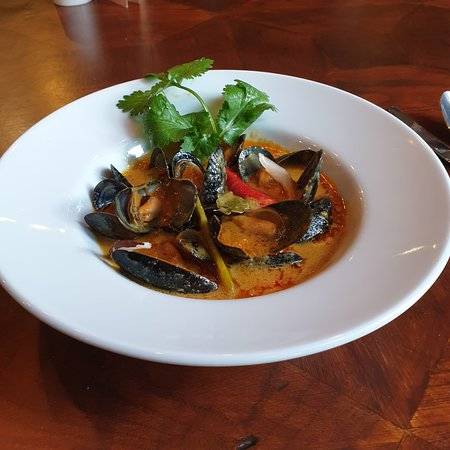 Coconut curried Scottish mussels
