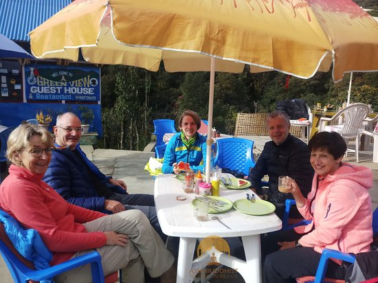 tea is the best drink to refresh and relax in the mountains.. guests enjoying their tea. cheers !!!!!