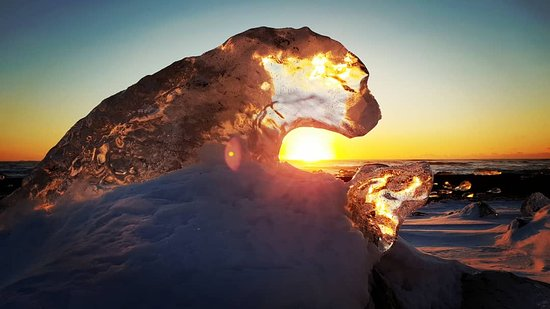 Looking at the sunset through this frozen Polar bear at the Diamond beach