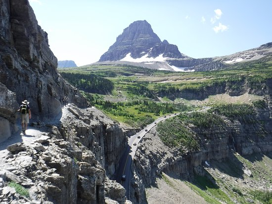 The Garden Wall trail departs from Logan Pass - highest point accessible by car in Glacier Park, and cuts its way through 2 miles of cliff with extraordinary views high above the road below.