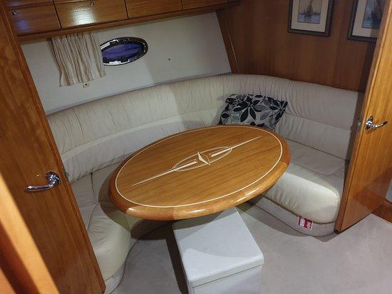 Seating area below deck.