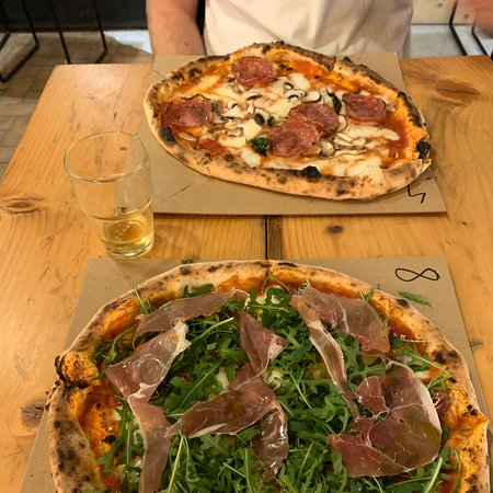 Delicious wood fired pizzas.