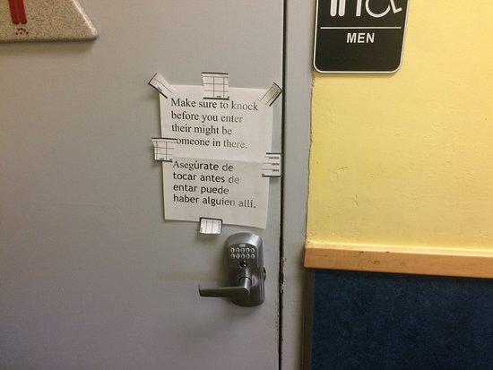 Warning Sign On Bathroom Door Picture Of Kfc King City Tripadvisor