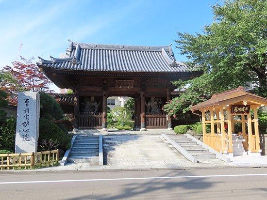 Myoshin-in: 両サイドに仁王像のある門