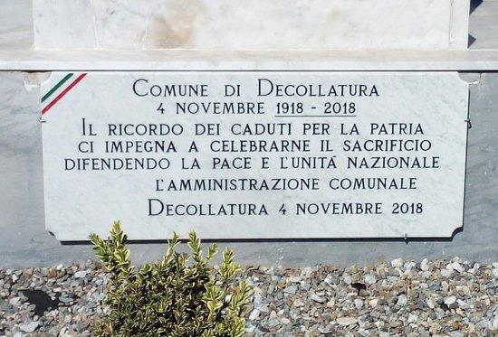 Decollatura, Italia: Targa