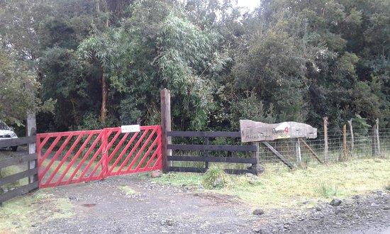 Puelo, Chile: La entrada a Raymapu, Tierra Florida. Por favor dejar cerrado el portón. The entrance to Raymapu, The Land full of Flowers. Please close the gate.