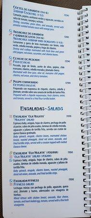 Poolside dining menu