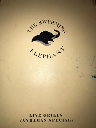 The Swimming Elephant restaurant menu card
