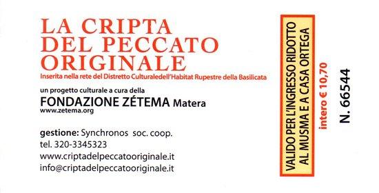 Province of Matera, İtalya: Ticket to the Cripta