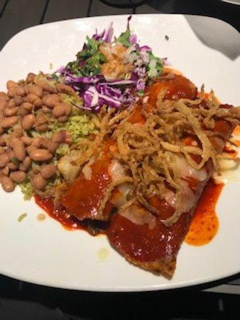 Mi Cocina: BBQ Brisket Enchiladas with whole charro beans and seasoned rice