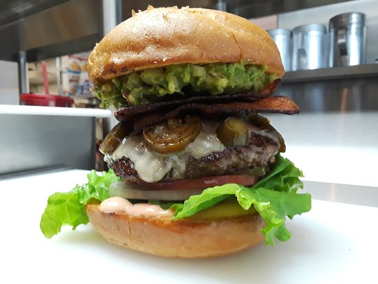Shingletown, CA: Southwestern Burger - 1/2 lb with Bacon, Jalapeno, Guacamole, & Pepper Jack Cheese
