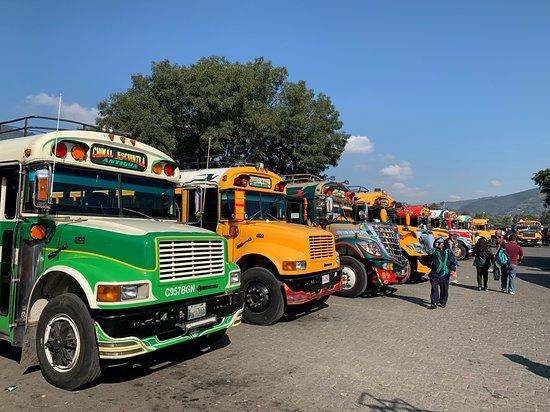 Clase de cocina guatemalteca y tour de mercado: Chicken bus station
