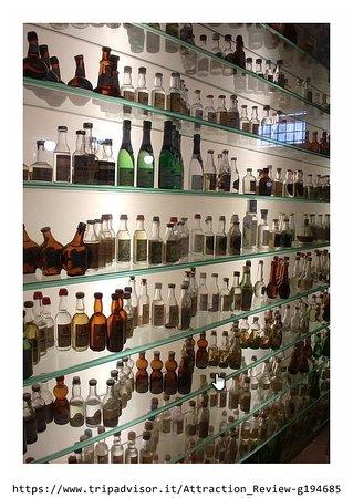 Bassano Del Grappa, Italie : la vetrina con bottiglie varie