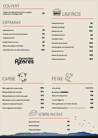Santa Cruz Da Graciosa, โปรตุเกส: A ementa do Restaurante. Incrível!